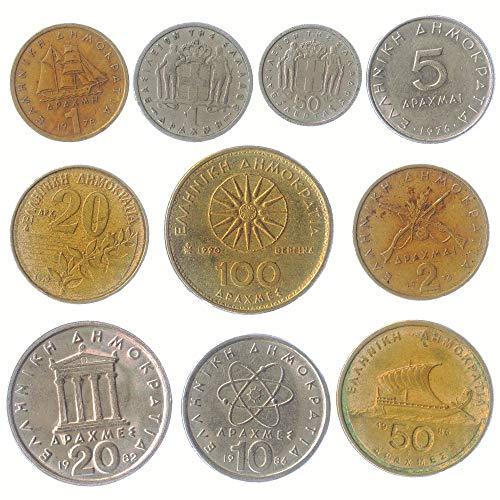 10 gemischte Menge Griechenland griechische Münzen Pre-Euro 1954-2002 Drachme Lepta. PERFEKTE Wahl FÜR IHRE SPARDOSE, MÜNZE Inhaber UND MÜNZENALBUM