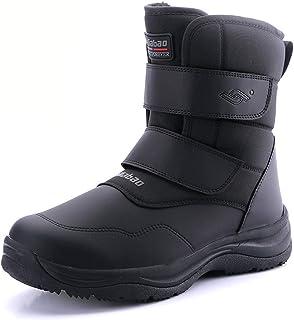 Magnifier Bottes de Neige pour Hommes Hiver Thermique Villi Cuir Velcro Haut Chaussures de Marche en Plein air antidérapan...