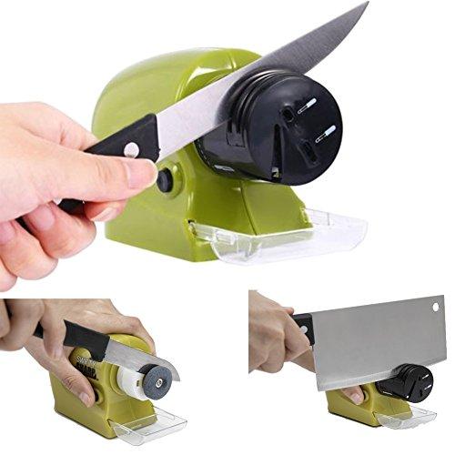 Cuchillo eléctrico Sacapuntas, pilas Powered Cuchillo piedra afilador de cuchillos, ideal para cuchillo, Choppers, tijeras, cleavers, precisión Tools, etc. (4* AA pilas no incluidas)