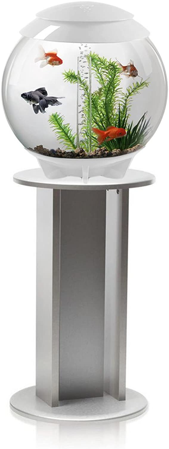 BiOrb Halo 30L Aquarium in White with Moonlight LED Lighting & Silver Stand