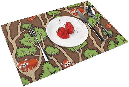 Juego de 4 manteles Individuales Panda Rojo para Mesa de Cocina Manteles Individuales Tejidos para Mesa de Comedor