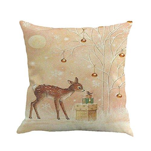 Sayla Weihnachten Deko Kissenbezüge Weihnachten Baumwolle Leinen Drucken Kissen Kissenbezüge Dekorative Kissenhülle Für Sofa Büro (D)