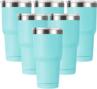 Amtidy 30oz Travel Tumbler with Splash Proof Lid, 6 Pack Stainless Steel Vacuum Insulated Double Wall Thermal Cup, Durable Powder Coated Insulated Coffee Mug(Teal)