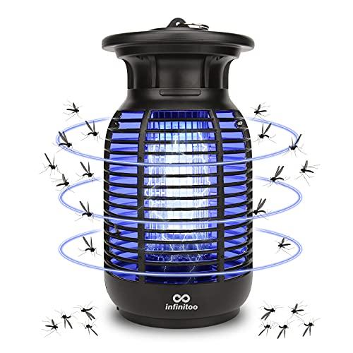 infinitoo Elektrischer Insektenvernichter,2021 Upgrade Mückenlampe mit 2600V UV Insektenfalle Moskito Killer Insektenkiller - Mücke, Fliege, Motte, Wespe, Käfer für Innen Schlafzimmer und Gärten