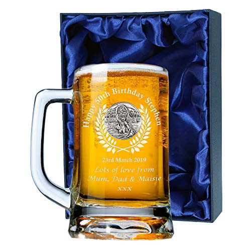 De Walden Mens 50th Birthday Gift, Engraved 50th Birthday Pint Glass Tankard with Solid Pewter Fly Fishing Feature, In a Satin Lined Presentation Box, Men's Birthday Gifts