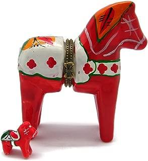 Essence of Europe Gifts E.H.G Dalarna Horse Hinge Box (3.25