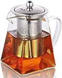 350ML/11.8OZ Square Glass Teapot for One with Heat Resistant Stainless Steel Infuser Perfect for Tea and Coffee, Clear Leaf Teapot with Strainer Lid gift for your family or friends (350ML)