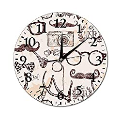 Mesllings Wall Clocks Hipser Round Glass Wall Clock, Wall Decor Clocks for Kitchen, Office, Retro Hanging Clock, Home Decor Accessories
