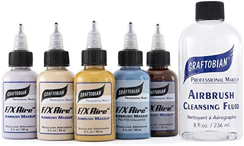 Graftobian F X Aire Special FX Airbrush Makeup Body Paint Special FX 5 Colors Set with Cleanser product image