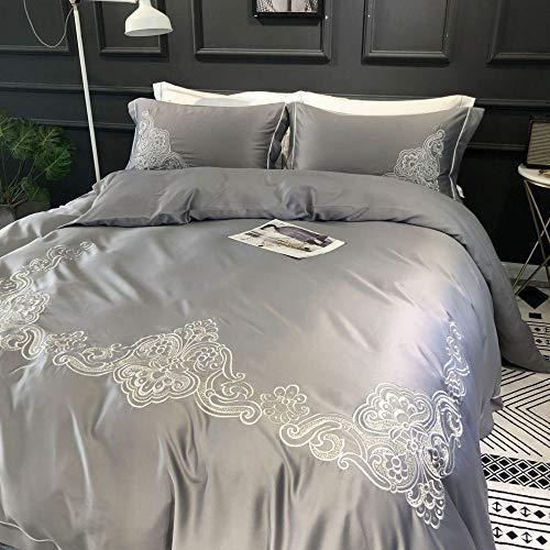 yaonuli Hochwertiger Aktivdruck und Färberei aus gewaschener Seide einfarbige Stickerei vierteilig grau 2,0 m Bettbezug 220 * 240