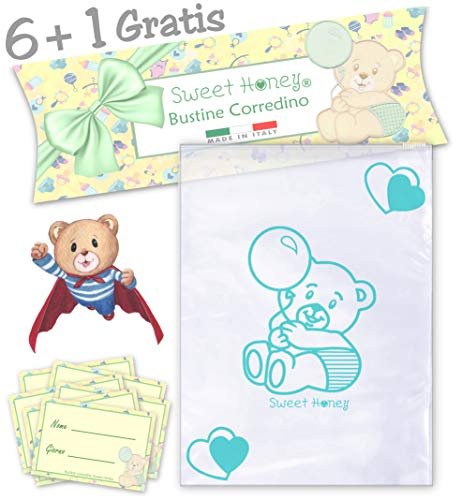 SweetHoney Bustine Primo Corredino Lista Nascita Neonato Ospedale Sacchetti Buste Trasparenti bebè Set Kit Post Parto Bimbo Bambina (Verde Mare)