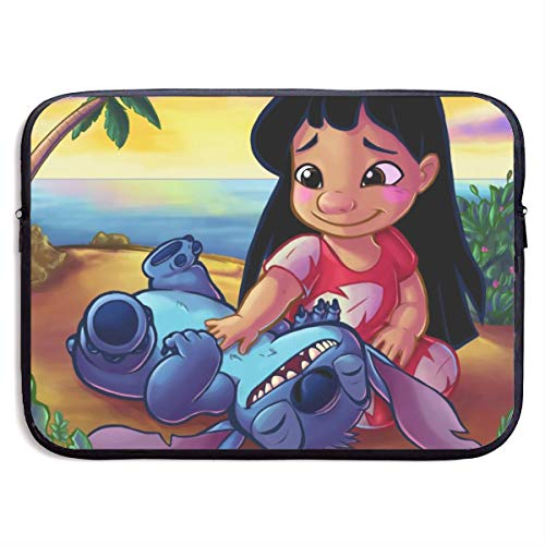 Lilo and Stitch Tummy Rubs 13-Inch to 15-Inch Laptop Sleeve Case- Waterproof Notebook Computer Bag-Light and Comfortable Tablet Briefcase-Band Zipper Portable Handbag