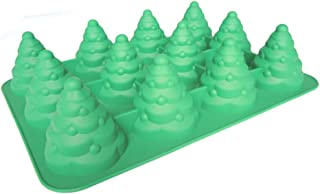 XIMSTAR DIY silicone cake molds pieces 3D christmas tree mold nonstick 12 cupcake pans for muffin Jello, Chocolate,candy baking set (green)