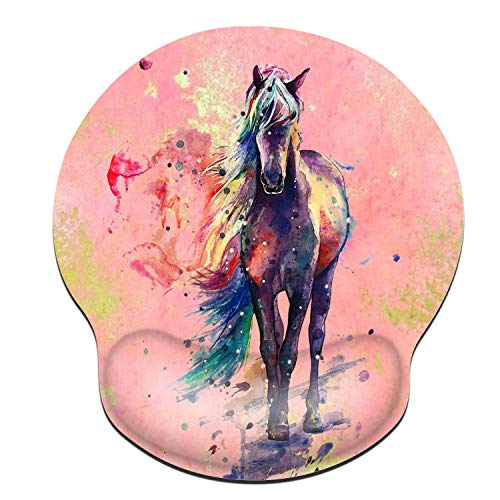 ZYCCW Mouse pad with Wrist Support, Watercolor Horse Tie dye Mouse pad Ergonomic Pain Relief Mouse Pad with Gel Wrist Rest Gaming Mouse Pad with Stitched Edges Non-Slip Rubber Base Mouse Mat for Compu