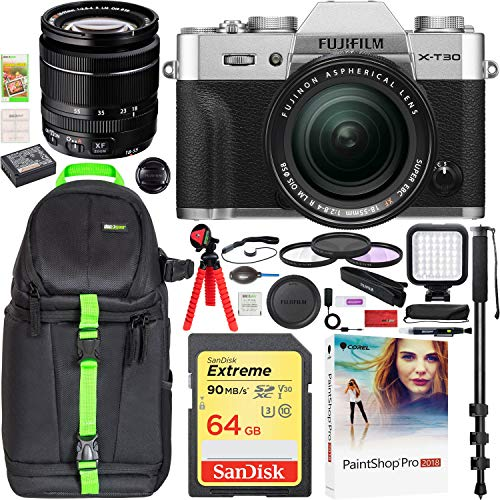 Fujifilm X-T30 Mirrorless 4K Wi-Fi Digital Camera Body with XF 18-55mm f/2.8-4 Lens Silver Travel Bundle Including Backpack + LED + 64GB + Filter Kit + Monopod