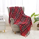Saukiee Plaid Throw Blanket Red with Tassels 50 x 60 inches Tartan Chenille Throw Fringe for Couch Sofa Bedroom Christmas Decor