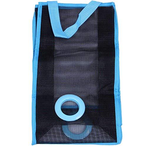 Vaorwne Large Bolsa De Malla Almacenamiento De Usos MúLtiples Basura Reutilizable Organizador Montado En Pared Soporte De Dispensador para Colgar En Plegables Contenedor 2Pcs (Azul)