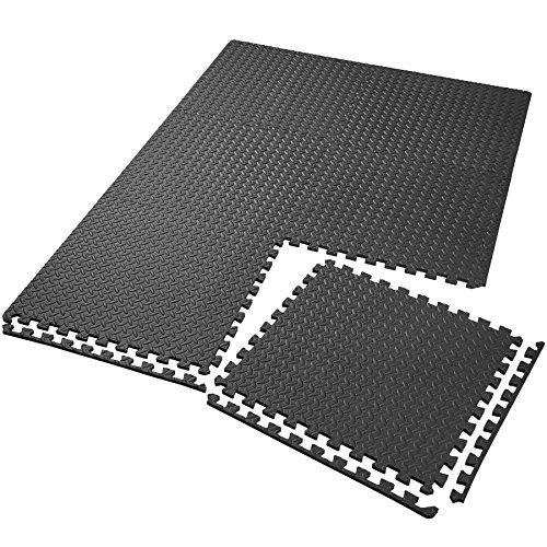 TecTake Schutzmattenset Bodenschutzmatte | rutschfest, schmutzabweisend | erweiterbares Stecksystem | Diverse Modelle (6X schwarz | Nr. 402653)