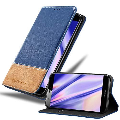Cadorabo Hülle für Huawei G7 Plus / G8 / GX8 - Hülle in DUNKEL BLAU BRAUN – Handyhülle mit Standfunktion & Kartenfach aus Einer Kunstlederkombi - Hülle Cover Schutzhülle Etui Tasche Book