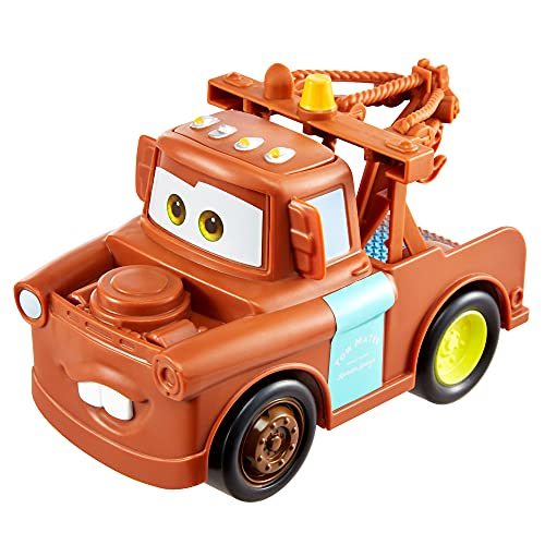Disney Cars Toys and Pixar Cars Track Talkers Mater, 5.5-in, Authentic Favorite Tow Truck Movie Character Sound Effects Vehicle, Fun Gift for Kids Aged 3 Years and Older (GTK89)