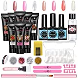Poly Nail Gel Kit, 8 Colors Acrylic Nail Extension Gel Nail Enhancement Starter Kit, Clear Nude White Crystal Builder Gel All-in-one Nail Art Design Set by Finger Queen