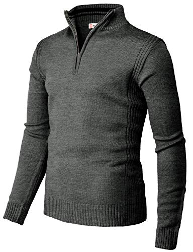H2H Mens Casual Slim Fit Pullover Sweaters Knitted Henley Long Sleeve Thermal Charcoal US M/Asia L (CMOSWL044)