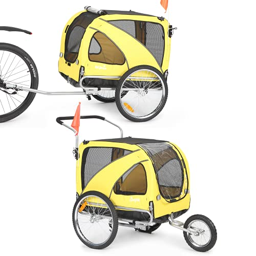 Sepnine and Leonpest Large Bicycle pet Trailer and Jogger 2 in 1 Function of Yellow Color 10202