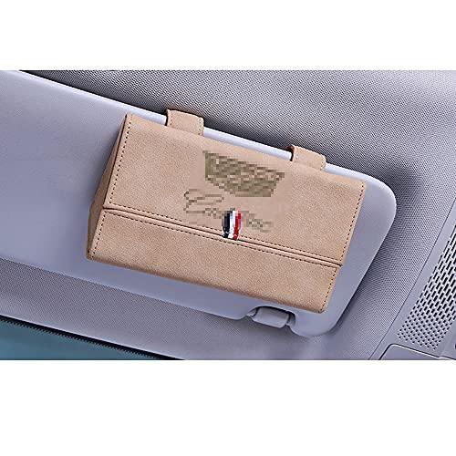 YMYGCC Material de Gamuza Estuches de Gafas para Coche, Clip para Visera de Coche con Logo, Funda de Almacenamiento de Cuero para Gafas de Sol, para Cadillac(5corlor)