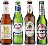 Beer Hunters Premium World Lager Mixed Case Gift Set of 12 Beers (Birra Moretti, Peroni, Singha, Becks)