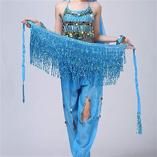 MJS Günstige Sekt Bauchtanz-Hüfte-Schal-Schal Pailletten Fringe Taille Kettenband Golden Royal Blau, Rosa, Lila (Farbe : Lake Blue, Größe : One Size)