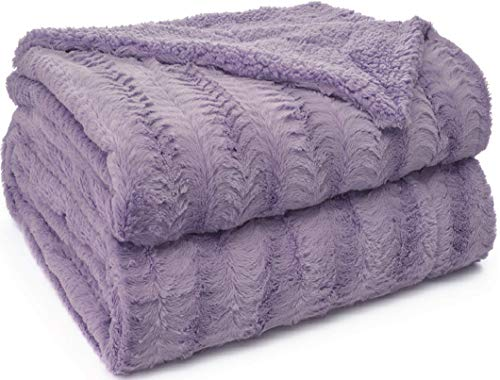 The Original Sherpa Company Luxury Throw Blanket, 65x50 Size, Super Soft Reversible Faux Fur Underside, Warm, Blankets, Wrinkle Resistant Washable Throws for Home, Bedroom, Purple