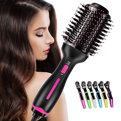Asciugacapelli ionico Multifunzione, massway One-Step Pettine 4 in 1 per Styler capelli Raddrizzatore per capelli agli Spazzola per capelli Ion Generator ricci Hot Air Comb con 6 Forcine per capelli