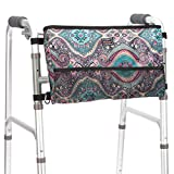 Walker Bag Wheelchair Accessories by Pacmaxi, Walker Accessory Tote Pocket for Walkers Rollators Wheelchairs, Multiple Pockets, Carabiner Clip (Blue)