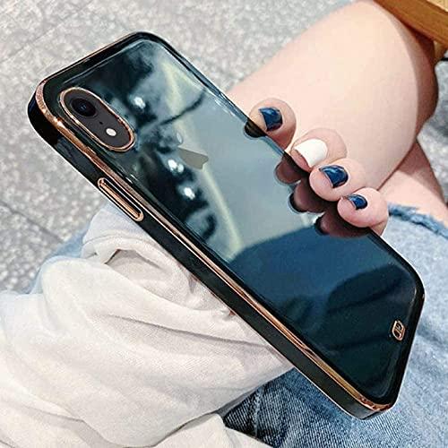 ZTOFERA Hülle für iPhone X/iPhone XS, Transparent Weich Hülle mit Goldener Rahmen, Schlank klar Anti-Kratzer Schutzhülle für iPhone X/XS - Schwarz