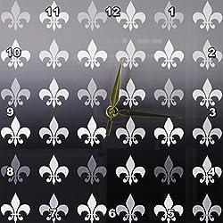 3dRose DPP_59112_1 Black and White Fleur De Lis Retro Art Vintage French Wall Clock, 10 by 10-Inch