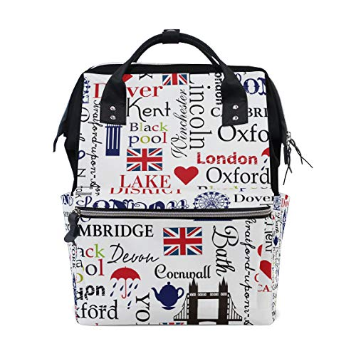 Grand sac à dos à langer pour maman et femme Motif Union Jack London Big Ben