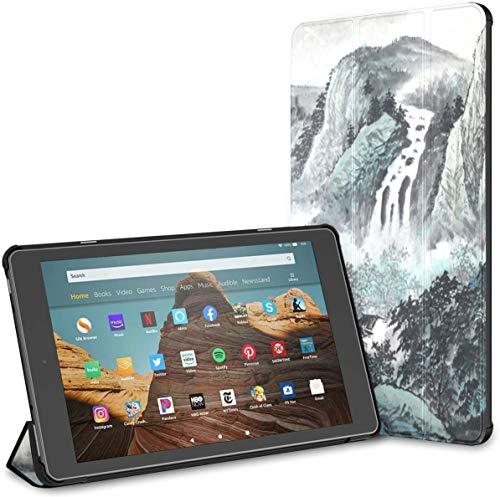 Estuche para Tableta Fire HD 10 con Pintura China Tradicional Hermosa (novena/séptima generación, versión 2019/2017) Estuche para Kindle Completamente Nuevo Estuche para un Kindle Fire 10 Auto Wake