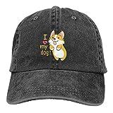 Funny Dog Baseball Cap I Love My Dog Dad Hats Black Dad Hat for Men Cute Corgi Puppy Dog Mom Cowboy Hat for Women