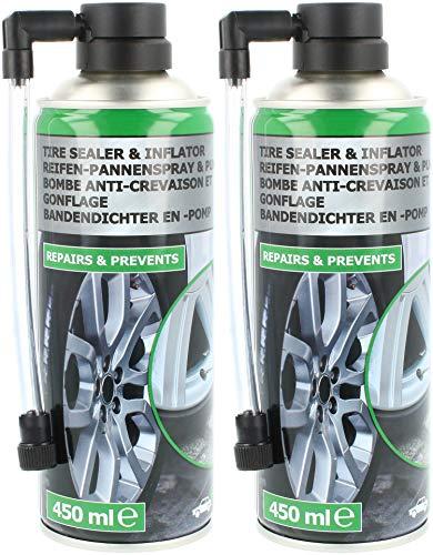 com-four® 2X Reifen Pannenspray - Autoreifen Pannenset auch für Motorradreifen - Reifenreparaturset - Reifendicht für Auto und Motorrad