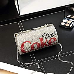 Silver Diamond Large Rhinestone Chain Coke Clutch