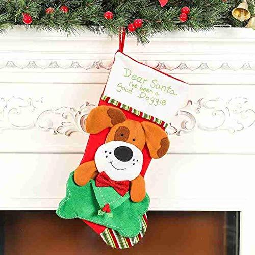 heidian Decorativas Regalos Festival Calcetín De Navidad Grande Soporte De Regalo Decoración De Árbol De Navidad Bolsas De Regalo De Año Nuevo Bolsas De Dulces, Patrón De Perro De Color