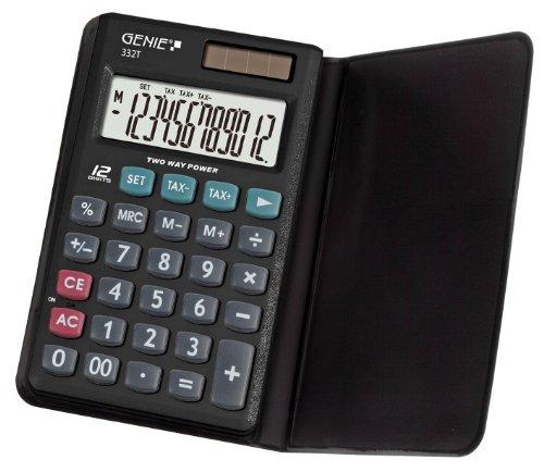 Genie 332T - Calculadora de bolsillo (con tapa, pantalla de 12 dígitos, diseño clásico), color negro