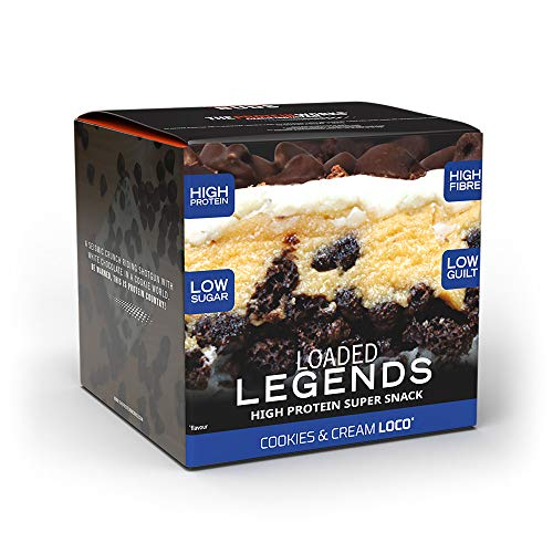 THE PROTEIN WORKS Loaded Legends Protein Bars | High Protein, Low Sugar Snack | High Fibre | Cookies 'n' Cream Loco | Box of 12