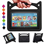 Kindle Fire 7 Case for Kids - SHREBORN Kids Shock Proof Protective Cover with Handle and Stand for Amazon Kindle Fire 7 Tablet (Compatible with 9th Generation 2019 & 7th Generation 2017) - Black