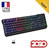 KLIM™ Chroma Clavier sans Fil Gamer AZERTY FRANÇAIS + Fin, Durable, Ergonomique, Discret, Waterproof, Silencieux + Clavier Gamer rétroéclairé pour PC Mac + Clavier PS4 + Nouvelle Version 2020 + Noir