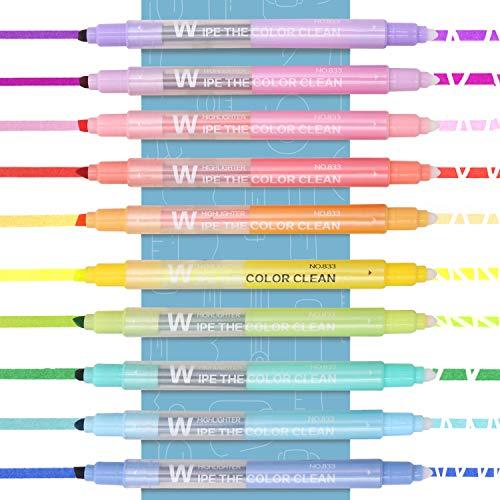 EooUooIP Textmarker Radierbar, Textmarker Pastell mit dicken und feinen Köpfen für Glattes Schreiben, Meißelspitze, 10 verschiedenen Farben