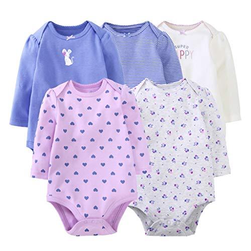 Baby Mädchen Langarm-Body im 5er Pack Baumwolle Spieler Strampler Schlafanzug Sommer Babybody Spielanzug Kaninchen 18-24 Monate