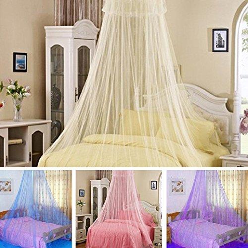 Elegante mit Spitze Insekten Betthimmel Netz Vorhang Rund-Dom Moskitonetz Betten, beige, 60cm by 260cm by 850cm