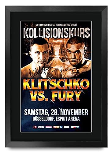 HWC Trading FR A3 Klitschko vs Fury Gifts, gedrucktes Autogramm-Poster für Box-Fans – A3 gerahmt