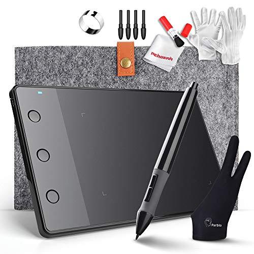 Huion H420 4 x 2.2 Zoll USB Grafik Zeichnung Tablet-Brett mit Digitale Stift 10 Zoll Wolle-Zwischenlage-Beutel Zwei Finger Anti-Fouling-Handschuh und Reinigungs Kits